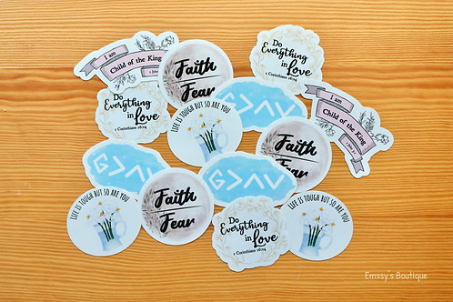 Inspirational/Christian Vinyl Sticker Bundle (Waterproof, Weatherproof)