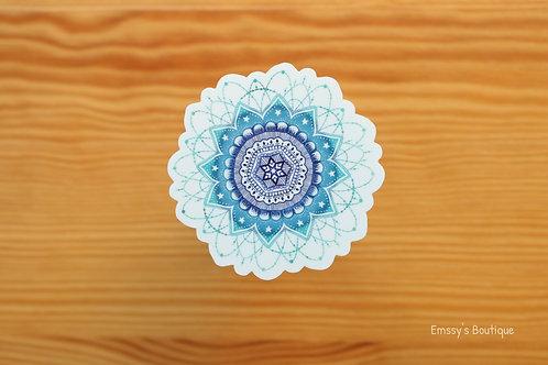 Blue Cosmic Mandala Vinyl Sticker (Waterproof, Weatherproof)