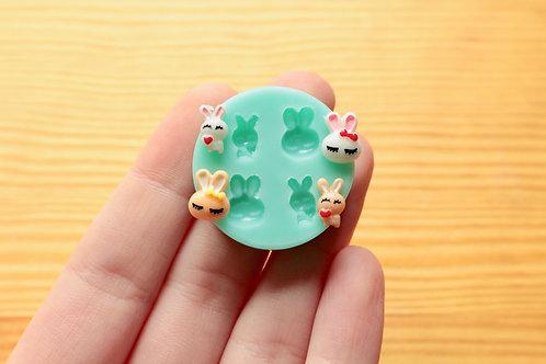 Tiny Cute Bunnies/Rabbits Silicone Mold (Green)