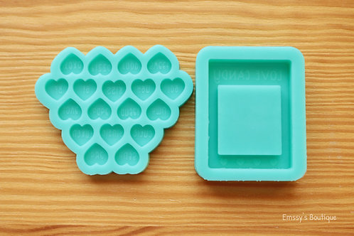 """Conversation Hearts & """"Love Candy"""" (Backed Shaker) Silicone Mold"""