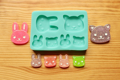 Bunny and Kitty Silicone Mold (Green)