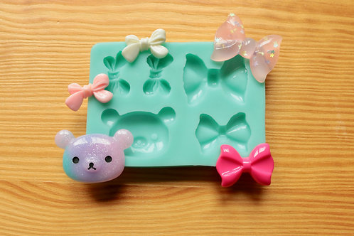 Assorted Bear and Bows Silicone Mold (Green)