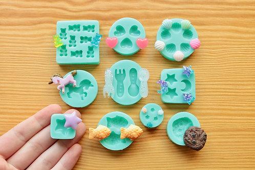 10 pc Assorted Silicone Mold Set!! Miniature Heart, Unicorn, Star, Fish, Moon, R