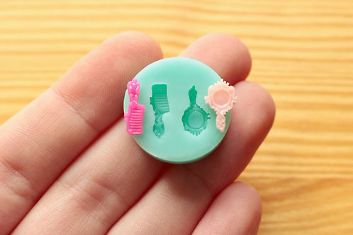 Tiny Brush & Mirror Silicone Mold (Green)