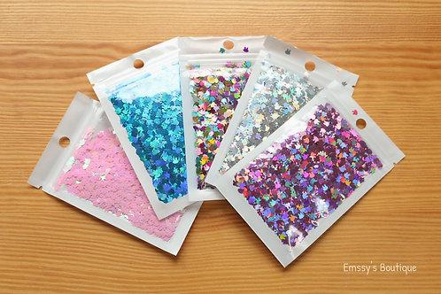 10g Bunny Shape Confetti! Holographic Silver, Pink, Blue, Purple