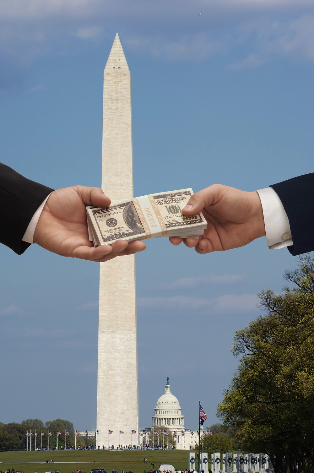 A lobbyist gives money to a Congressman for a political bribe. Contrary to public opinion, lobbying is not bribery.