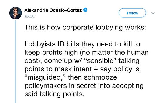AOC Tweet: Lobbyists ID bills they need to kill to keep profits high