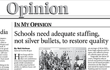 Opinion section of a local newspaper about school staffing policies