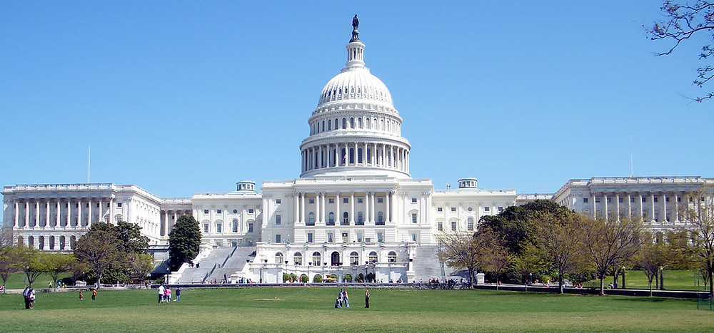 The U.S. Capitol Building on a sunny day in summer