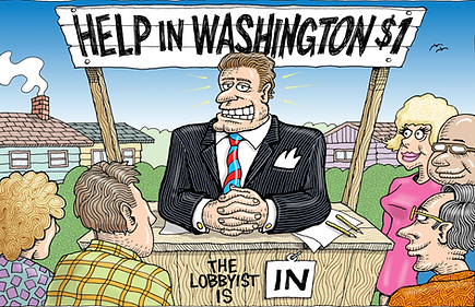 What is lobbying? Why do lobbyists and what do lobbyists do? This picture shows a lobbyist in D.C. lobbying on behalf of the people