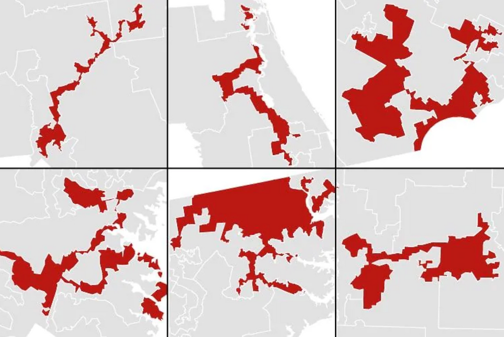Six gerrymandered Congressional Districts from the Washington Post