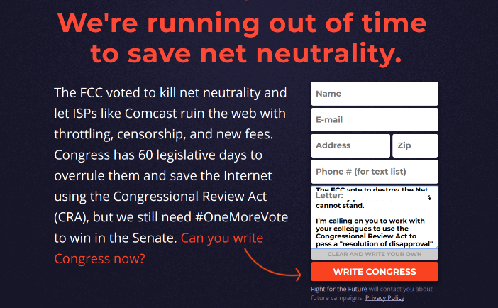 Online petitions do not work, they are one of the least effective ways to contact Congress