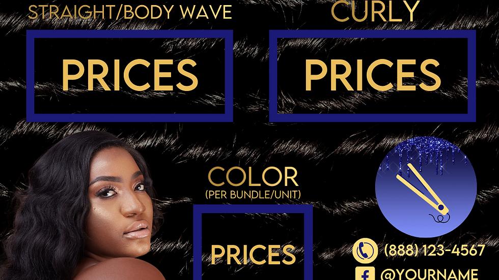 Hair Salon/Vendor Social Media Content