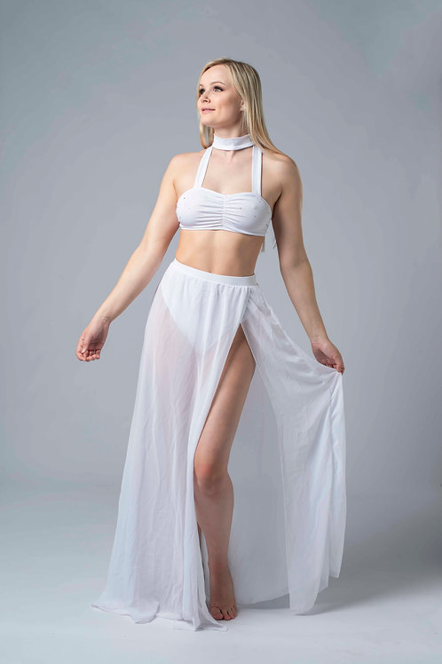 Skirt and top set with rhinestones white