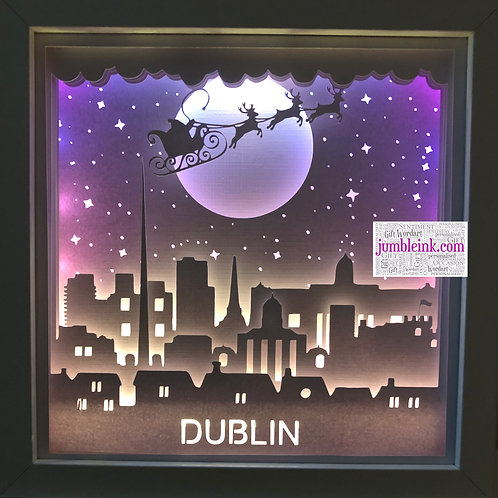 €5.50 - Santa over Dublin - 3D Paper Cut Template Light Box SVG