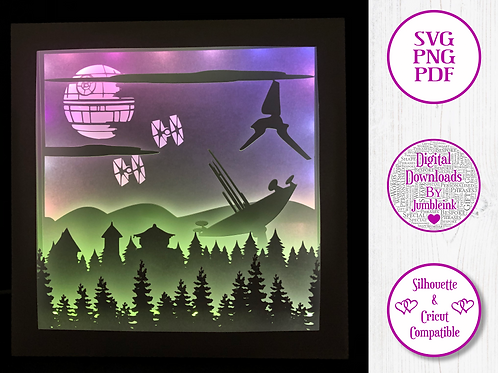 €5.50 - Star Wars VI  - 3D Paper Cut Template Light Box SV
