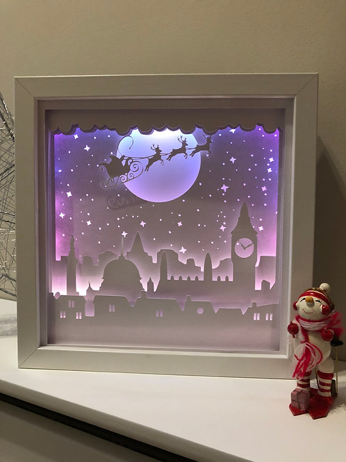 €5.50 - Santa over London - 3D Paper Cut Template Light Box SVG