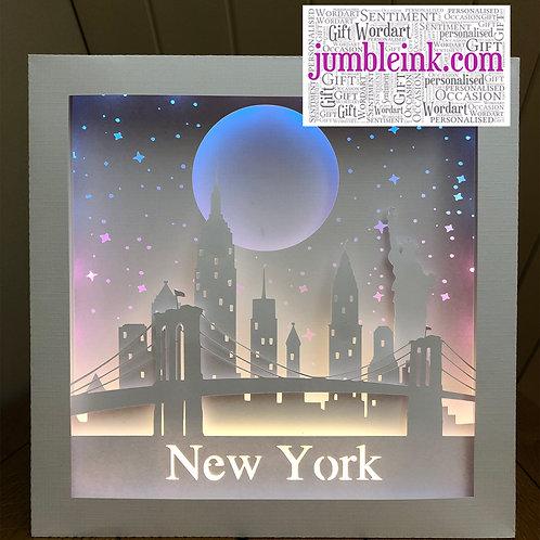 €5.50 - New York Skyline - 3D Paper Cut Template Light Box SVG