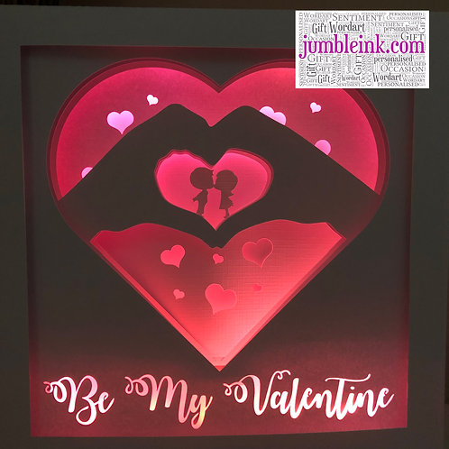 €5.50 - Be My Valentine - 3D Paper Cut Template Light Box SVG