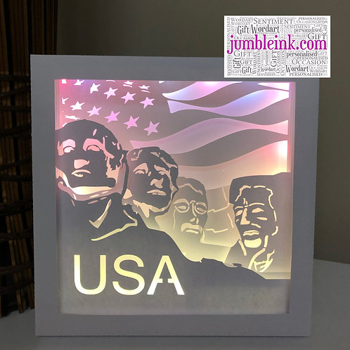 €5.50 - Mount Rushmore - Square 3D Paper Cut Template Light Box SVG