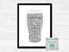 Pint of Galway Pubs Wall Art Prints IRL.