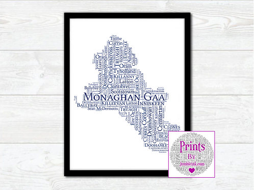 Monaghan GAA Clubs Wall Art Print: