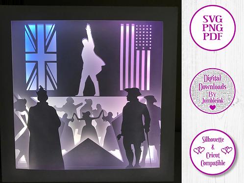 €5.50 - Founding Father Alexander Hamilton - 3D Paper Cut Template Light Box SVG
