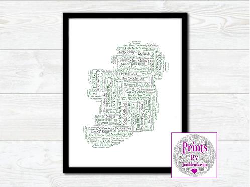 Irish Pubs Map Wall Art Print: