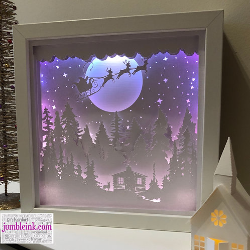 €5.50 - Santa's Cabin - 3D Paper Cut Template Light Box SVG