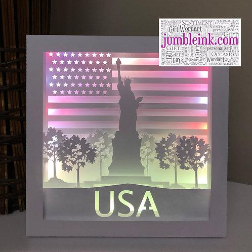 €5.50 - Statue of Liberty - Square 3D Paper Cut Template Light Box SVG