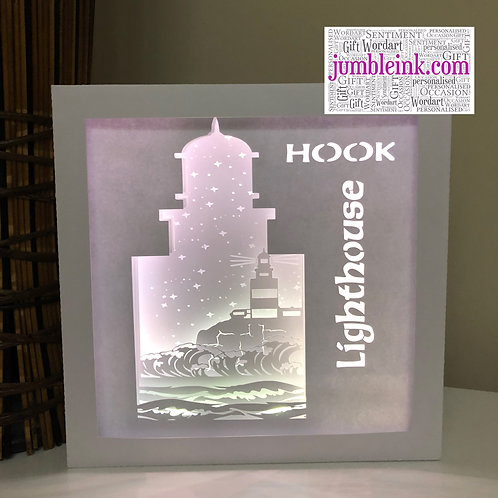 €5.50 - Hook Lighthouse - Square 3D Paper Cut Template Light Box SVG