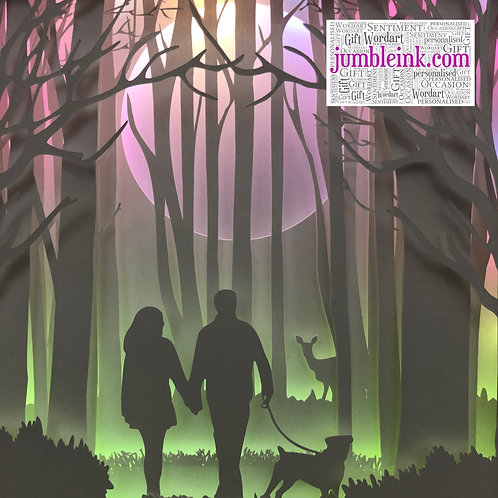 €5.50 - Couple in the Woods & Dog - 3D Paper Cut Template Light Box SVG