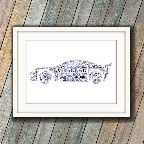 Grandad Car Wall Art Print: