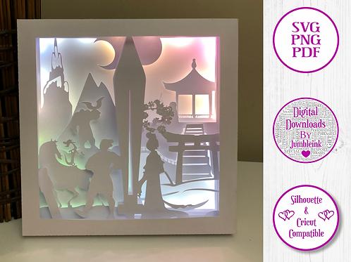 €5.50 - Mulan  - 3D Paper Cut Template Light Box SV