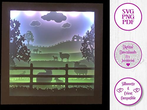 €5.50 - Sheep in the Field - 3D Paper Cut Template Light Box SVG
