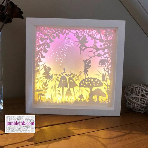 €5.50 - Fairy Garden - 3D Paper Cut Template Light Box SVG
