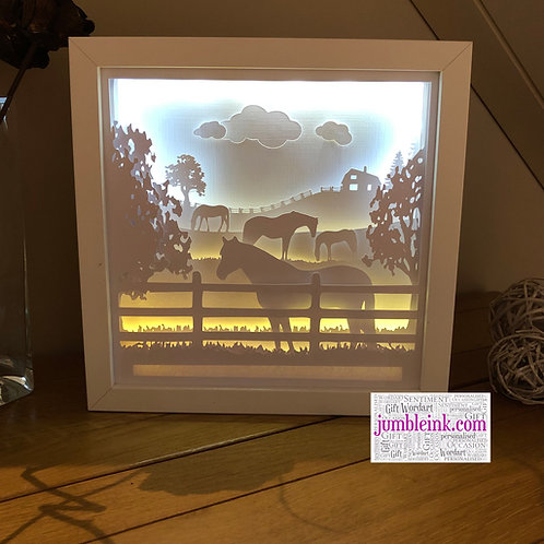 €5.50 - Horses in the Field - 3D Paper Cut Template Light Box SVG