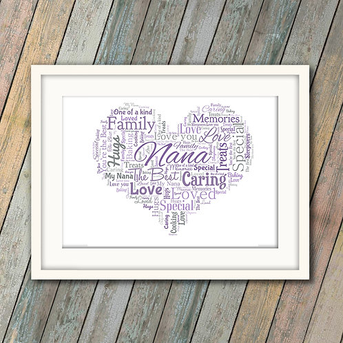Nana Heart Wall Art Print: