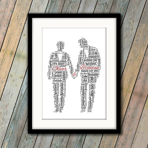 Wedding Grooms Wall Art Print: