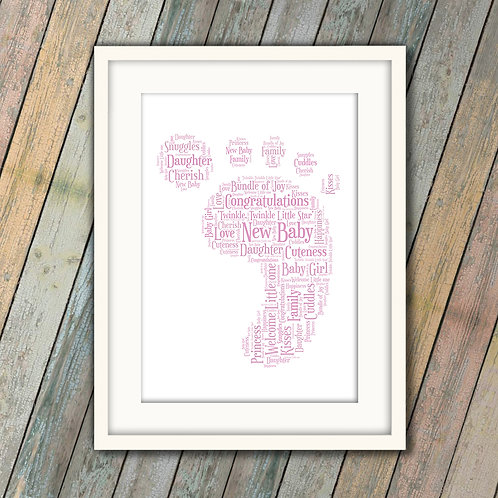 New Baby Girl Foot Wall Art Print: