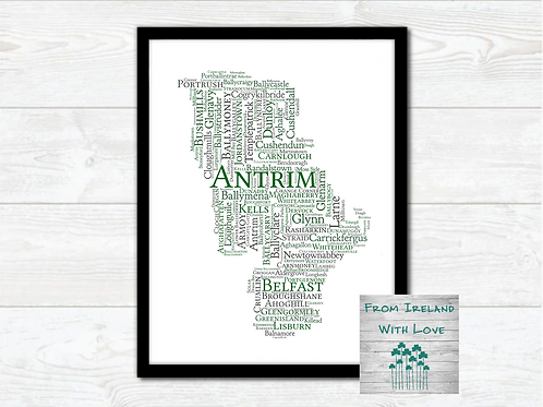 County Antrim Towns Wall Art Print:
