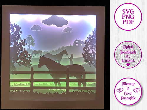 €5.50 - Horse and the Girl - 3D Paper Cut Template Light Box SVG