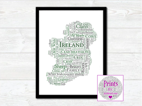 All Things Irish Map Wall Art Print: