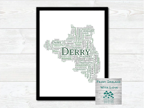 County Derry Towns Wall Art Print: