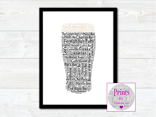Pint of Fermanagh Pubs Wall Art Print: