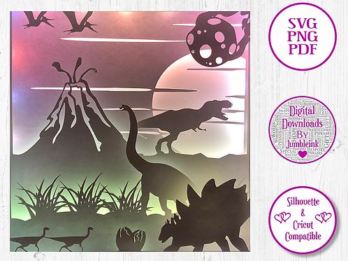 €5.50 - Dinosaurs - 3D Paper Cut Template Light Box SVG
