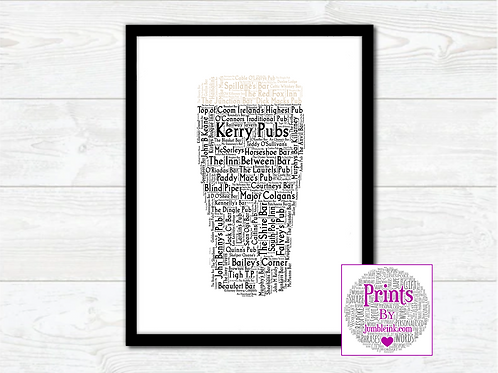 Pint of Kerry Pubs Wall Art Print: