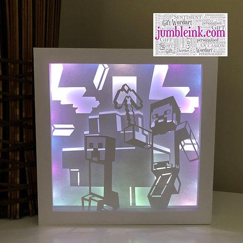€5.50 - Mine Craft - Square 3D Paper Cut Template Light Box SVG