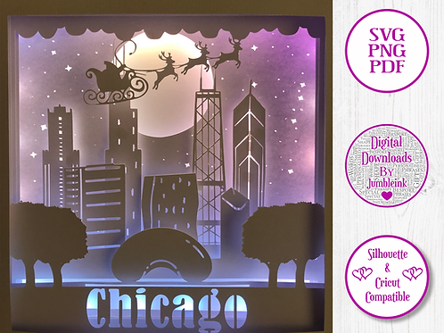 €5.50 - Santa Over Chicago  - 3D Paper Cut Template Light Box SVG