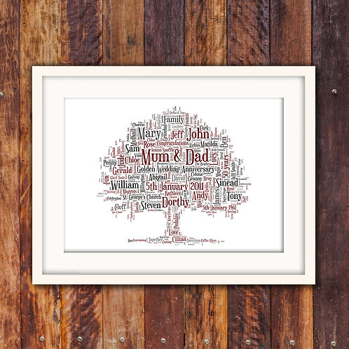 Anniversary Tree Wall Art Print: